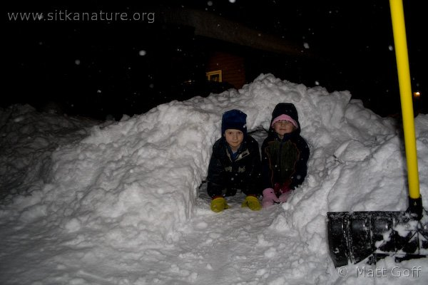Connor and Rowan in their Snow Cave
